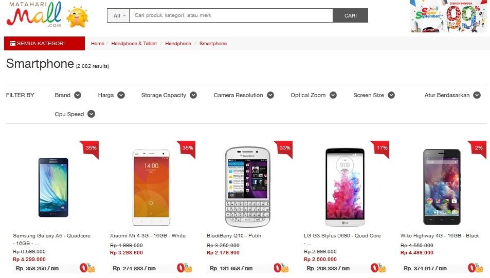Berbagai merek dan tipe smartphone tersedia disini