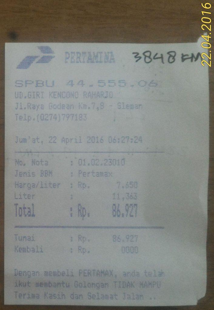 Pembelian BBM kedua di 3.848 KM